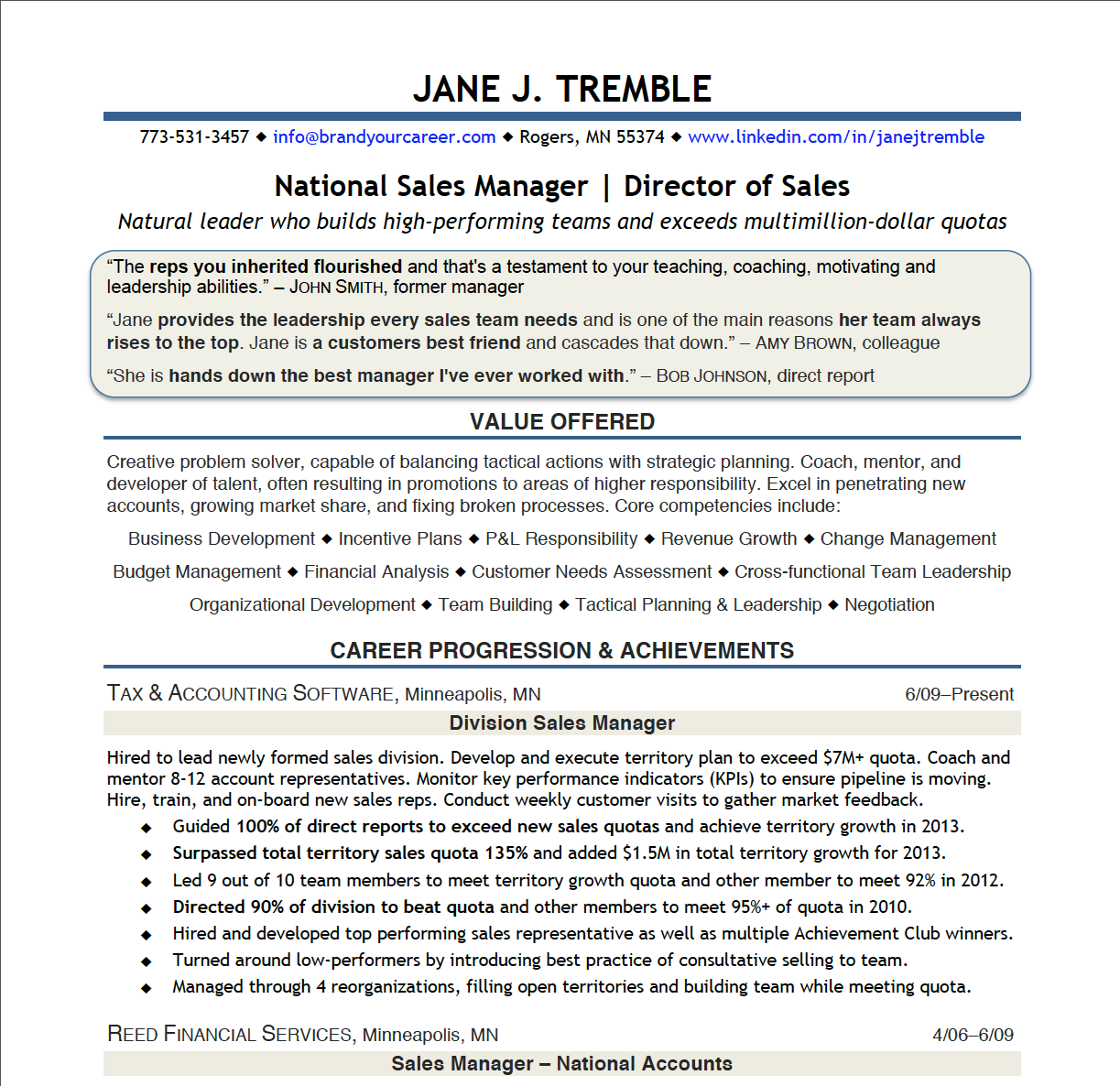 samples director of sales  u00ab brand your career
