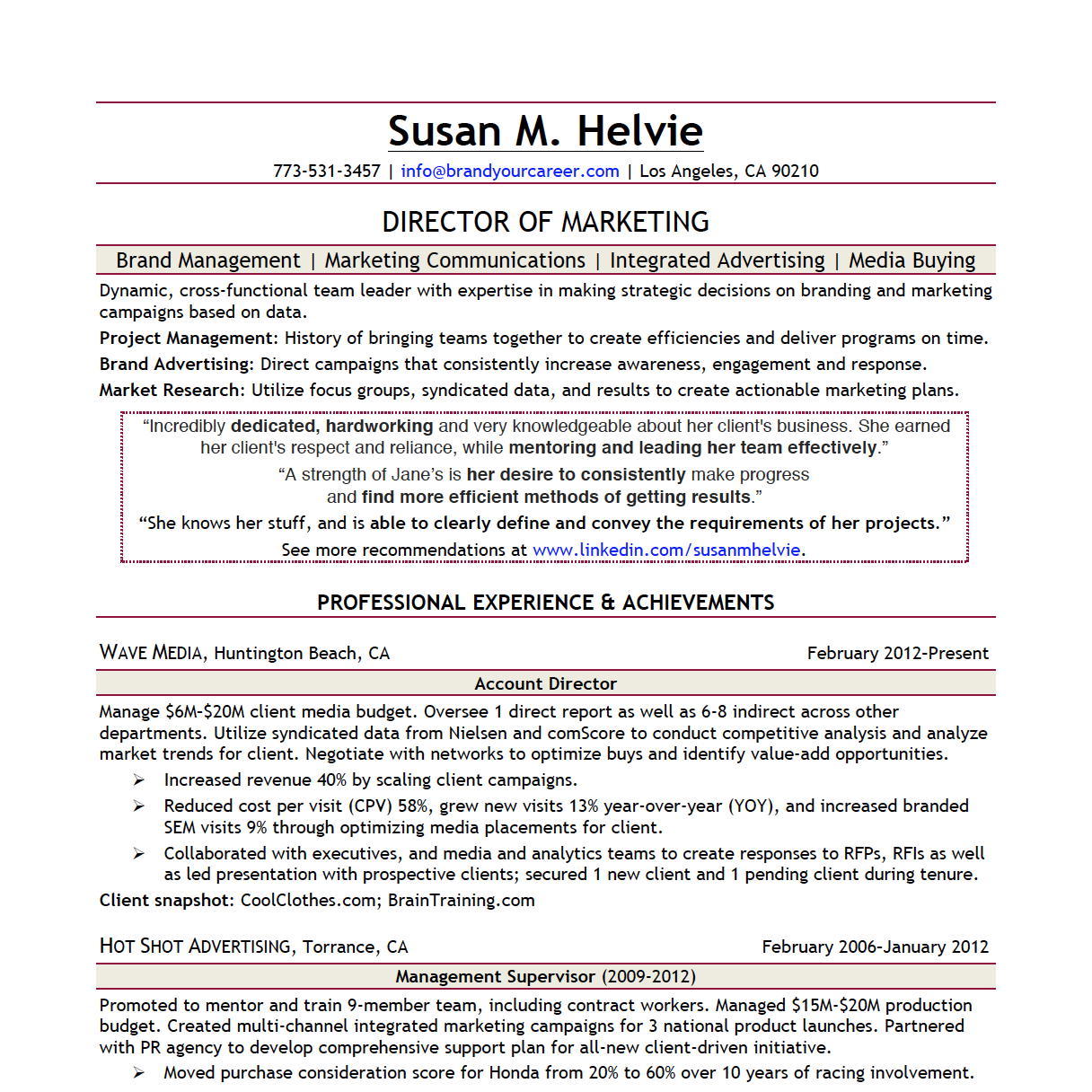 Director Of Marketing Cover Letter Director Of Marketing Resume  Director Of Marketing Resume
