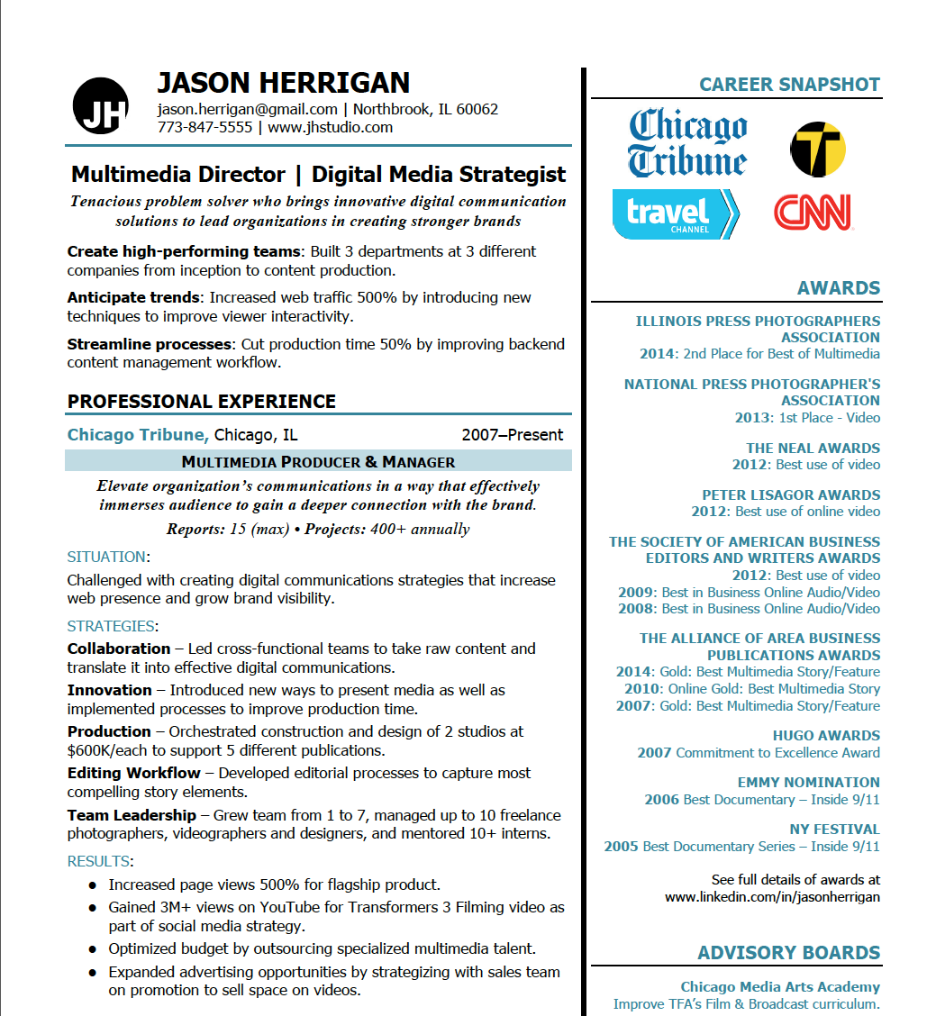 awards and published work brand your career modern resume 1